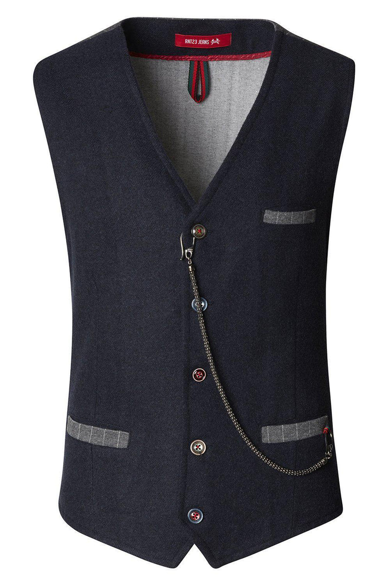 Vest With Chain - Navy - Ron Tomson