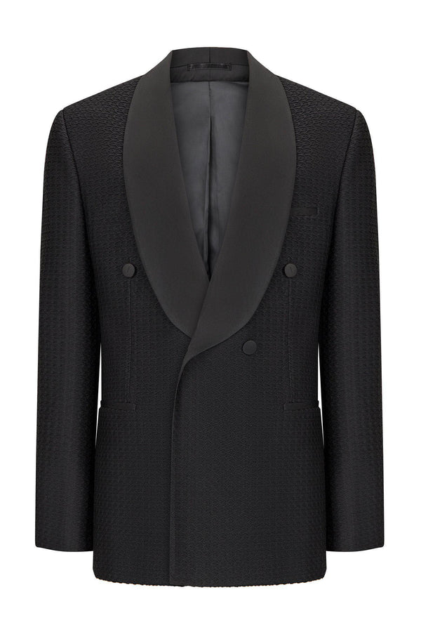 WAFFLE TEXTURE DOUBLE BRESTED TUXEDO - BLACK - Ron Tomson