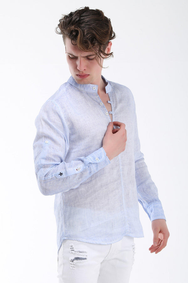 Washed Henley Linen Shirt - Light Blue - Ron Tomson
