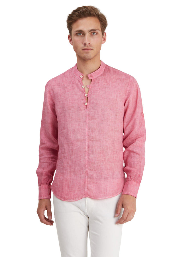 Washed Henley Linen Shirt - Light Wine - Ron Tomson