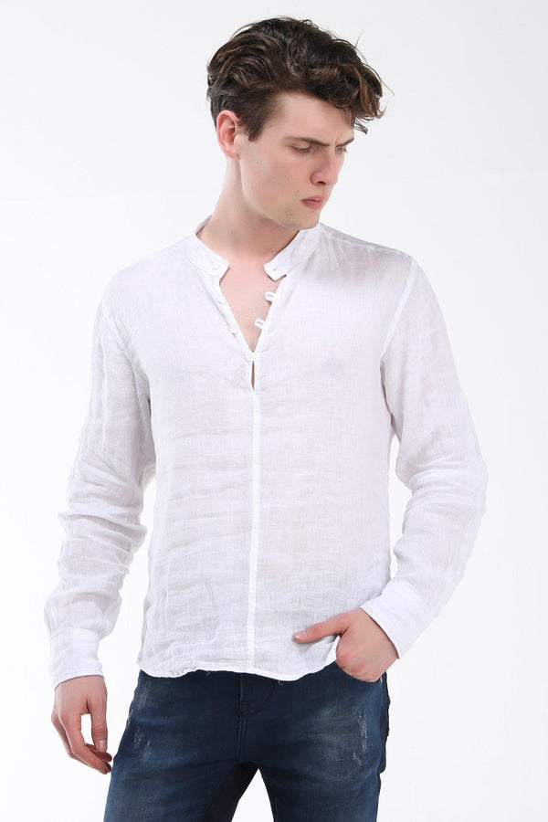 Washed Henley Linen Shirt - White - Ron Tomson