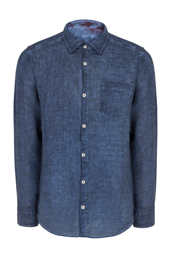 WASHED INDIGO NAVY LINEN SHIRT - Ron Tomson