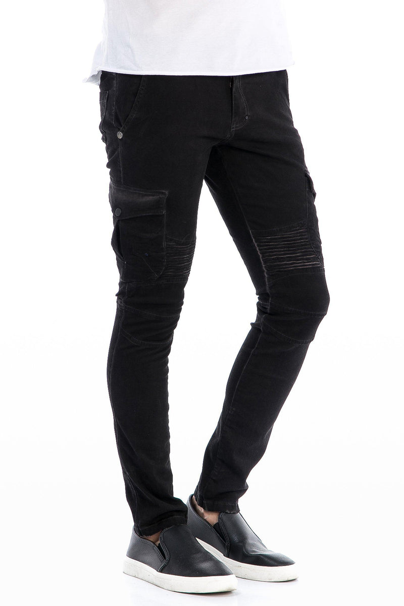 WASHED MOTO RIBBED SLIM FIT JEANS - BLACK - Ron Tomson