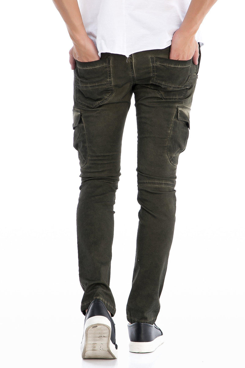 Washed Moto Ribbed Slim Fit Jeans - More Colors-Jeans-Ron Tomson-BLACK-29-Ron Tomson