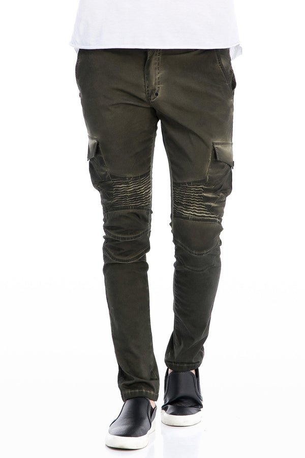 WASHED MOTO RIBBED SLIM FIT JEANS - GREEN - Ron Tomson
