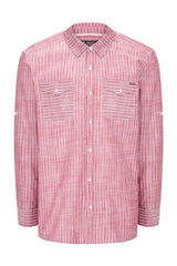 Western Striped Cotton Shirt - RED - Ron Tomson