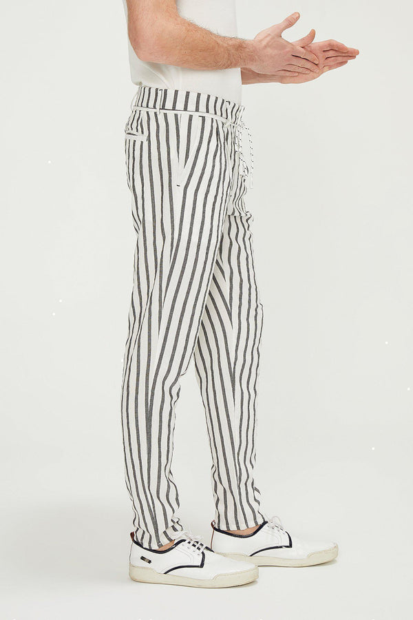 Wide Stripe Pants - White Black