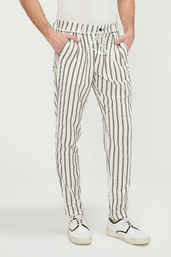 Wide Stripe Pants - White Khaki - Ron Tomson