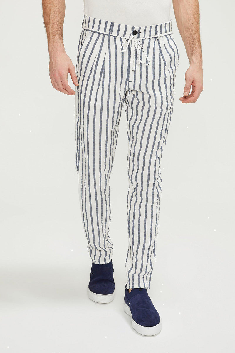 Wide Stripe Pants - White Navy - Ron Tomson
