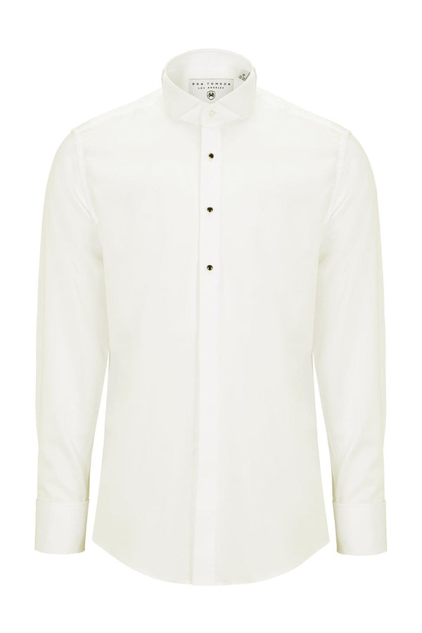 WING CLASSICAL TOP 3 FRONT STUD TUXEDO SHIRT - Light Beige - Ron Tomson