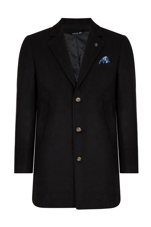 Wool Melange Mid-Length Overcoat - Black - Ron Tomson
