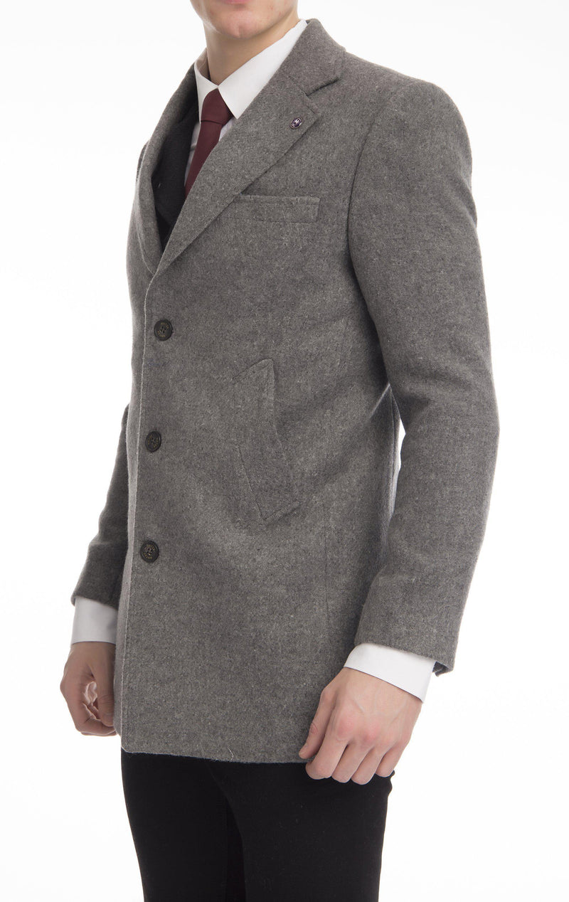Wool Melange Mid-Length Overcoat - Grey - Ron Tomson