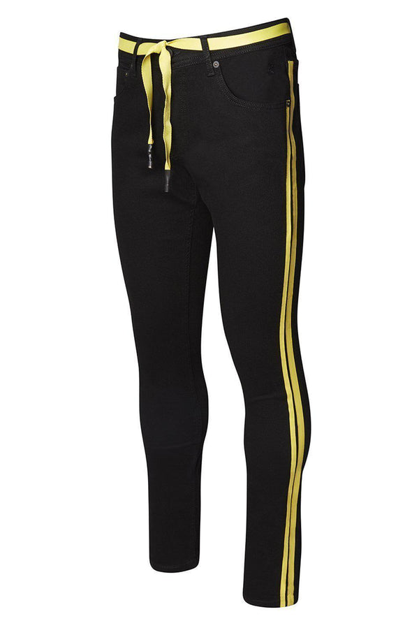 Yellow Side Stripe Slim Fit Jeans - Black Yellow