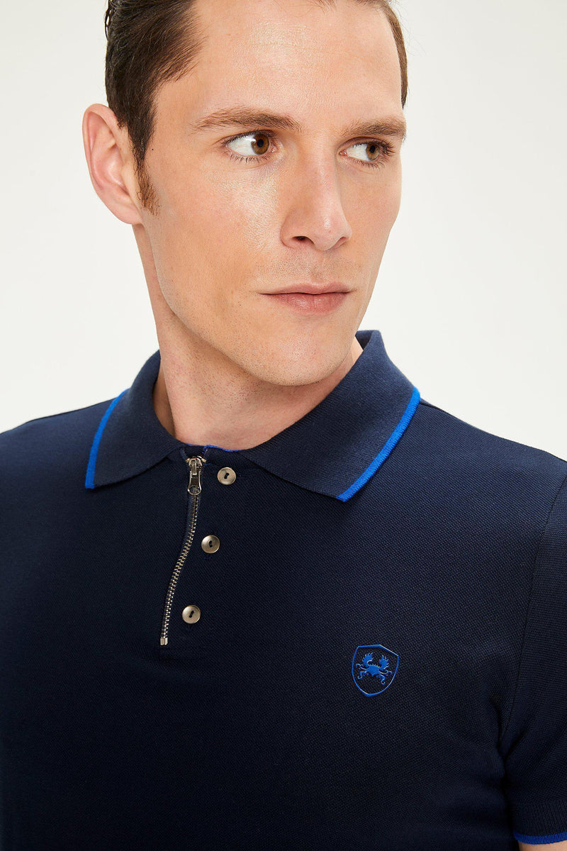 Zip-Button Polo Shirt - NAVY - Ron Tomson