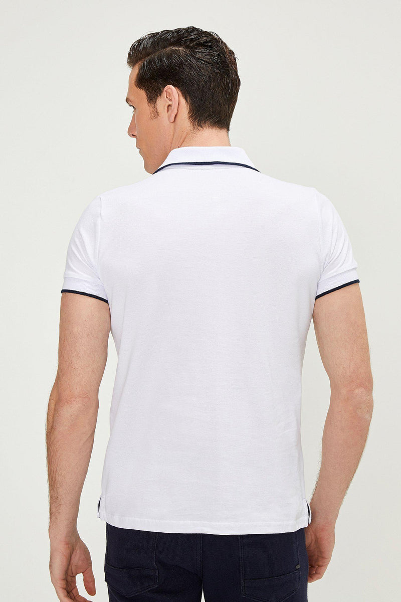 Zip-Button Polo Shirt - WHITE - Ron Tomson