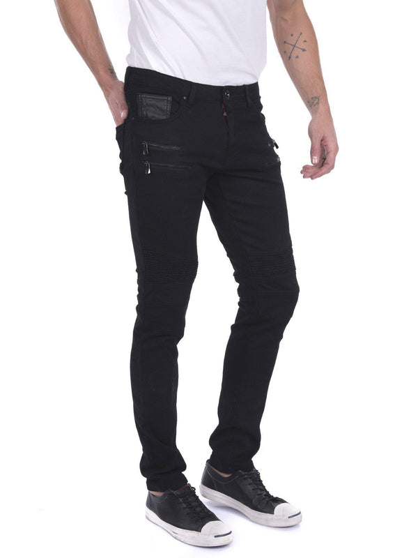 Zip Moto Tapered Jeans - Black Black