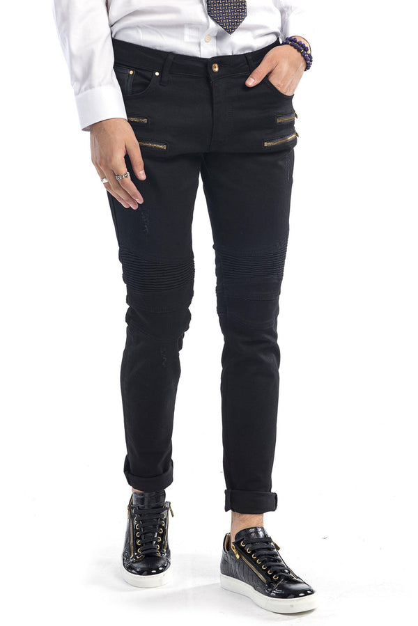 Zip Moto Tapered Jeans - Black Gold - Ron Tomson