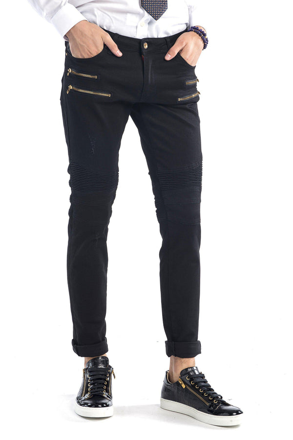 Zip Moto Tapered Jeans - Black Gold