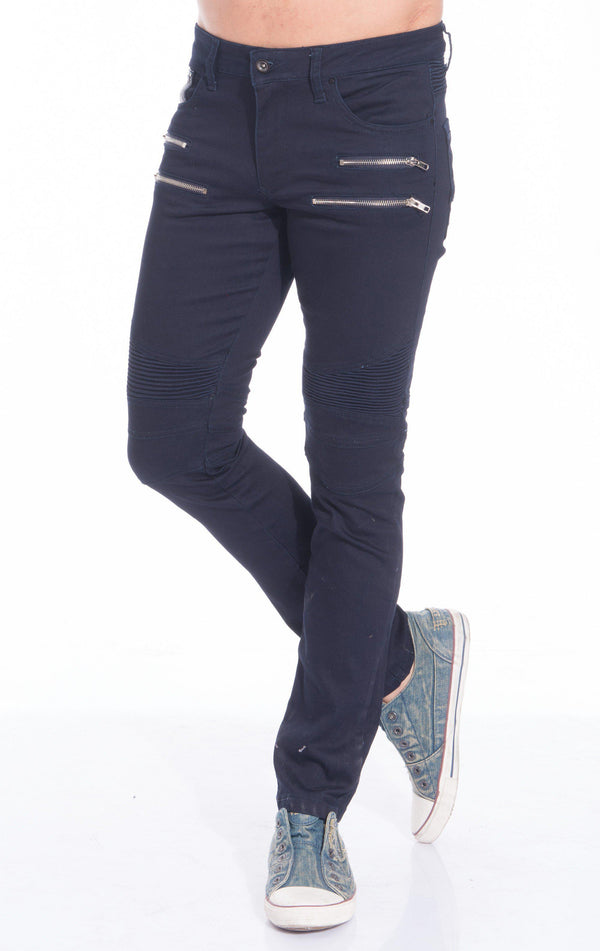 Zip Moto Tapered Jeans - NAVY SILVER