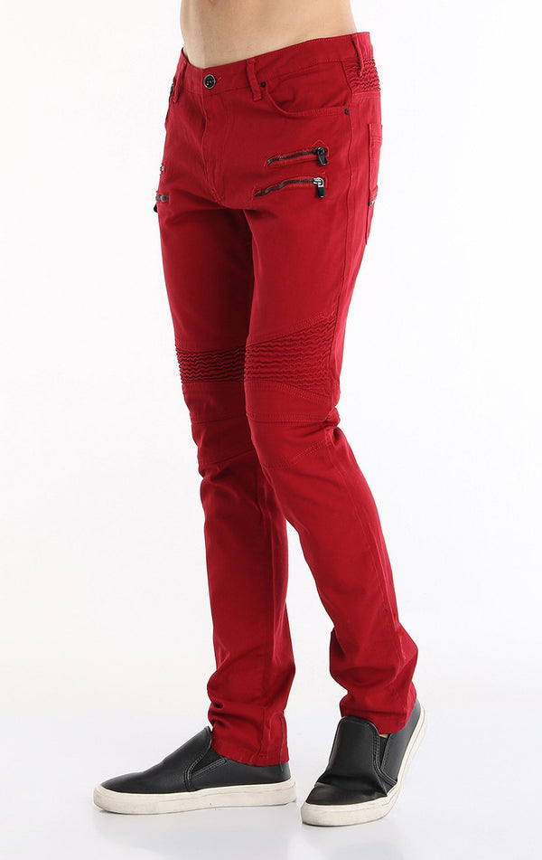 Zip Moto Tapered Jeans - Red Black