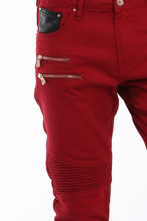 Zip Moto Tapered Jeans - Red copper