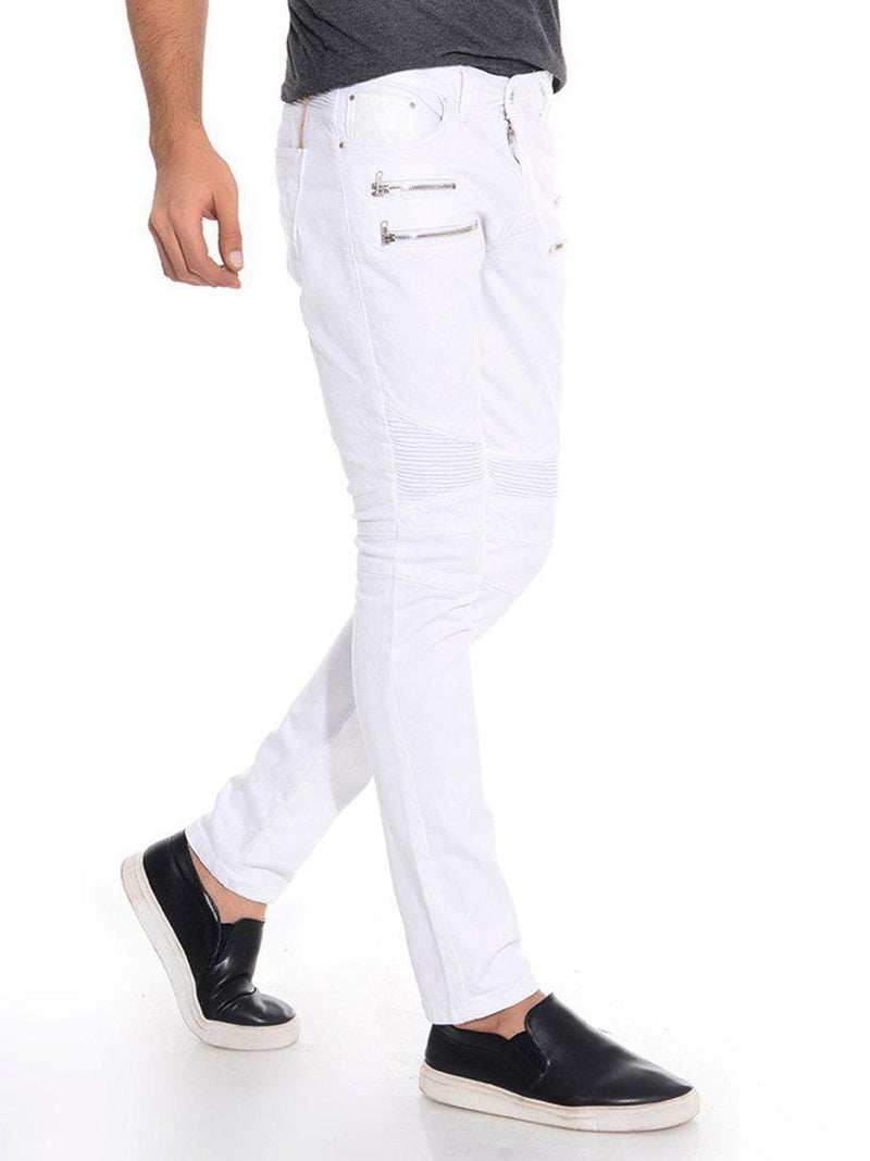 Zip Moto Tapered Jeans - White Silver - Ron Tomson