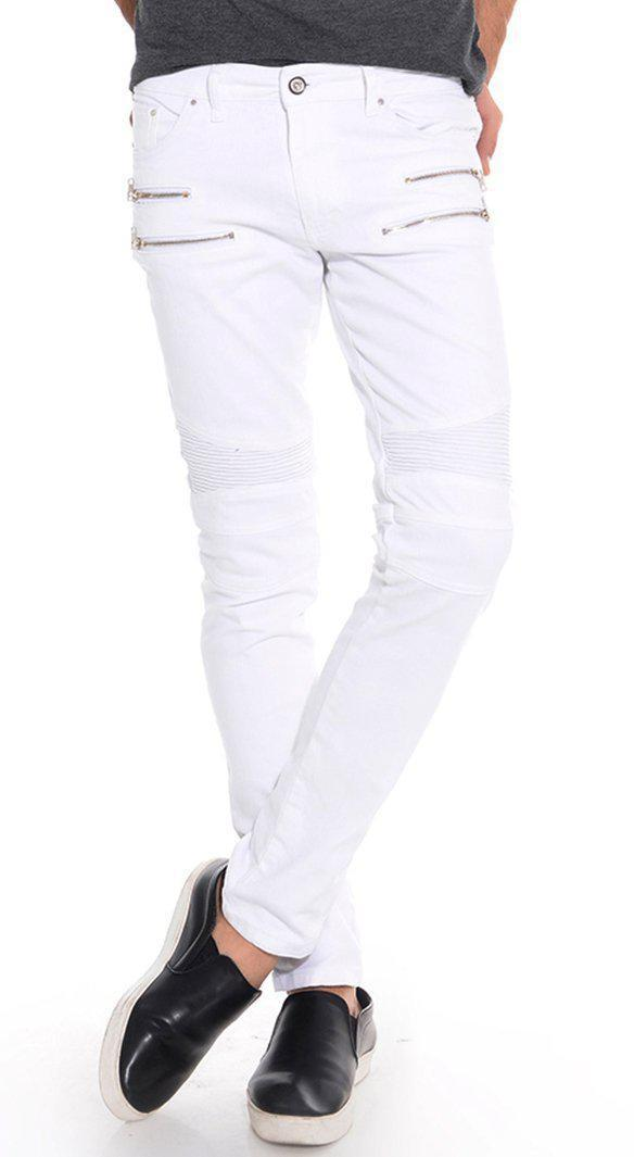 Zip Moto Tapered Jeans - White Silver