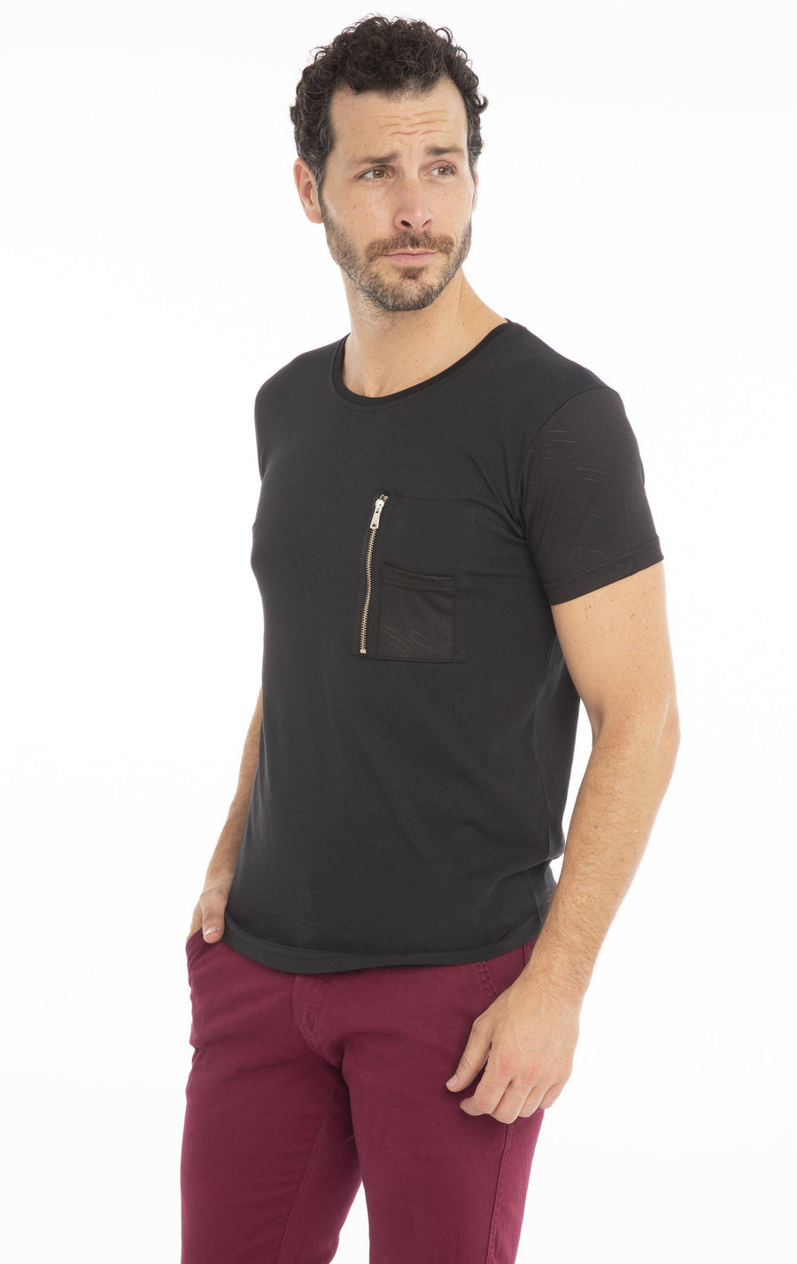 Zip Pocket Fitted T-shirt - Black
