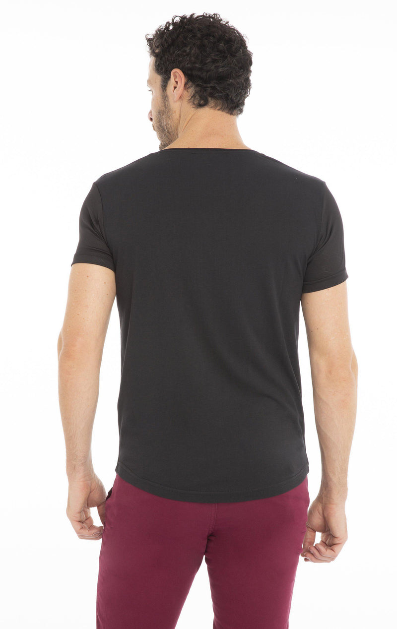 Zip Pocket Fitted T-shirt - Black - Ron Tomson
