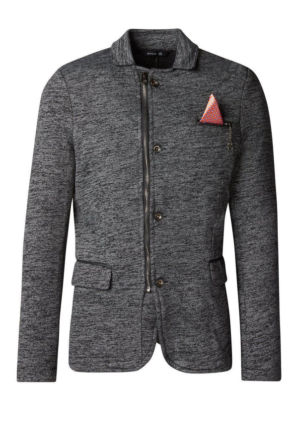 Zip Pocket Knitted Blazer - Black