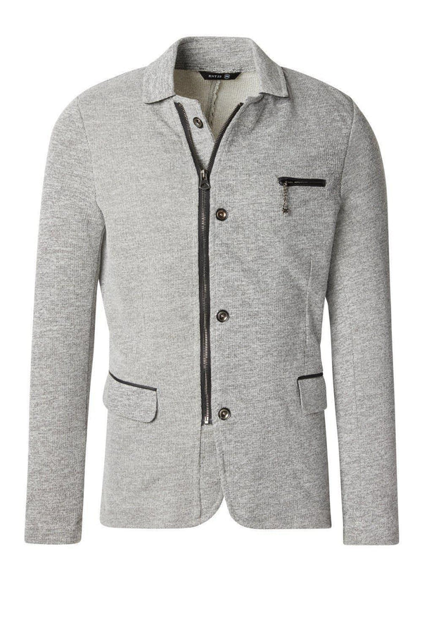 Zip Pocket Knitted Blazer - Grey