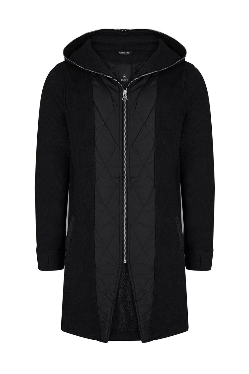Zip Through Hooded Paneled Cardigan - Black - Ron Tomson