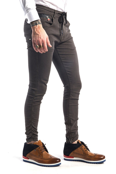 Zipped and Crinkled Leg Slim Fit Jeans - More Colors-Jeans-Ron Tomson-KHAKI-29-Ron Tomson