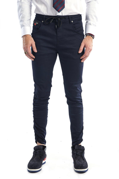Zipped and Crinkled Leg Slim Fit Jeans - More Colors-Jeans-Ron Tomson-NAVY-29-Ron Tomson