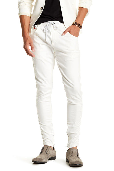Zipped and Crinkled Leg Slim Fit Jeans - More Colors-Jeans-Ron Tomson-WHITE-29-Ron Tomson