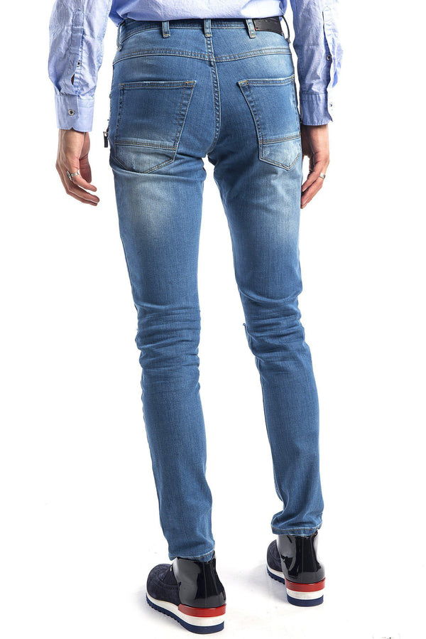 Zipped and Ripped Tapered Jeans - More Colors-Jeans-Ron Tomson-NAVY-29-Ron Tomson