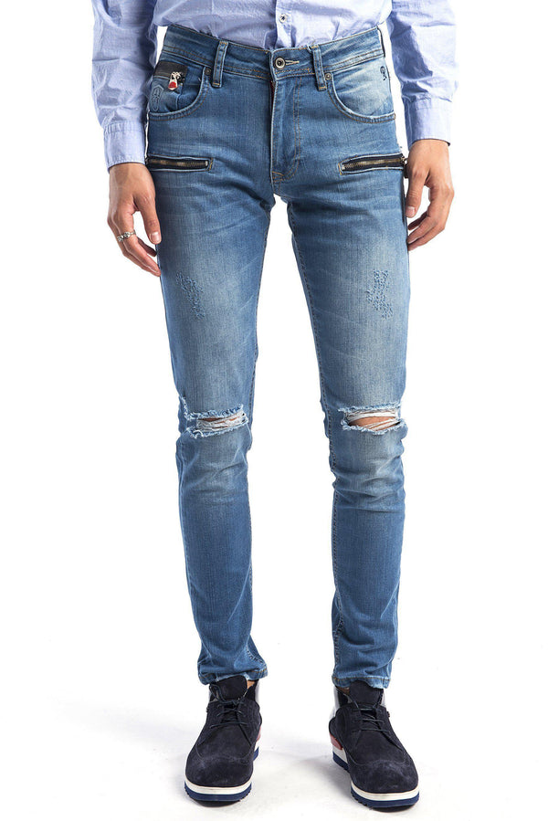 Zipped and Ripped Tapered Jeans - More Colors - Ron Tomson
