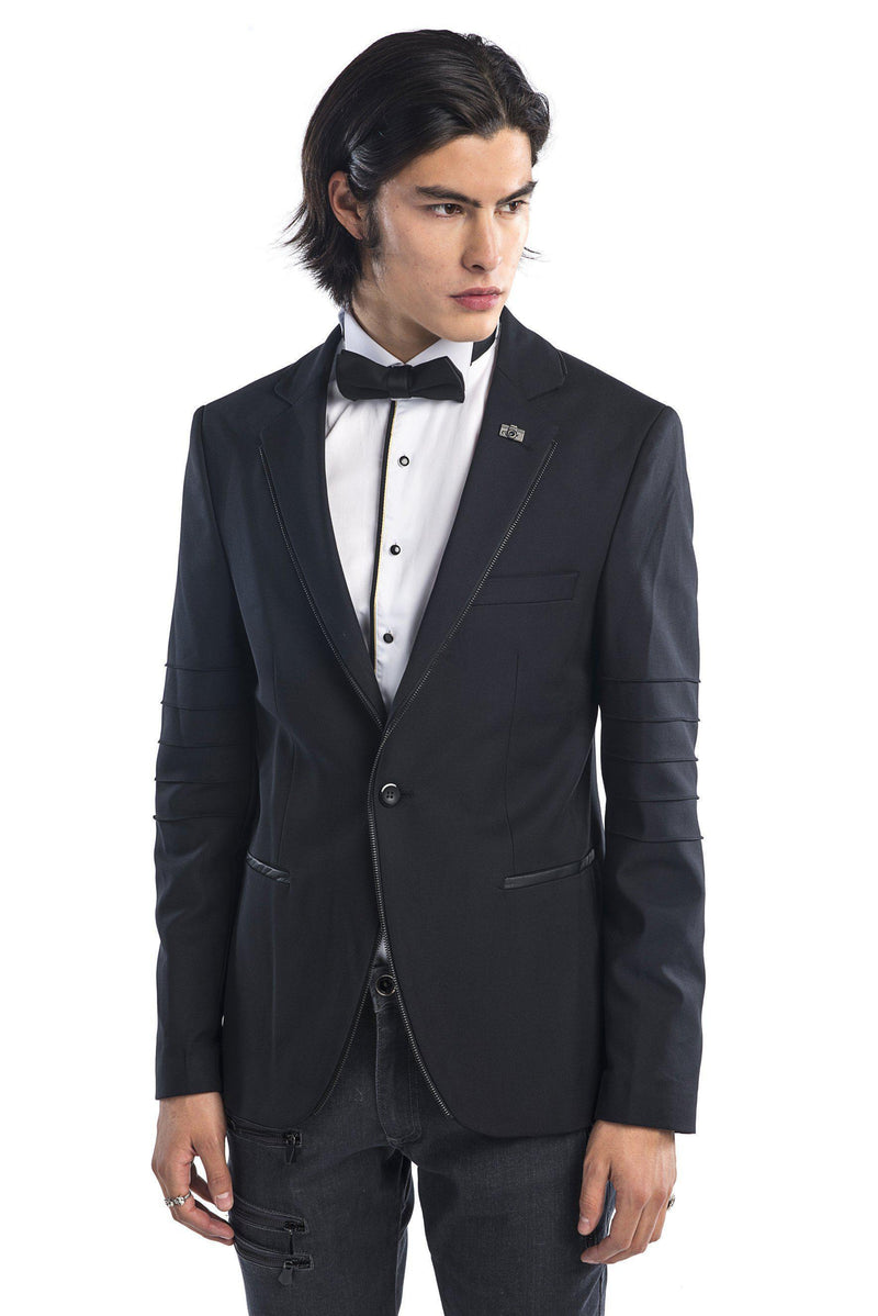 Zipper piping fitted Sports Coat - Black - Ron Tomson