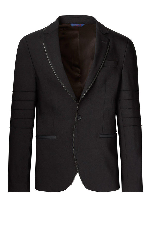 Zipper piping fitted Sports Coat - Black