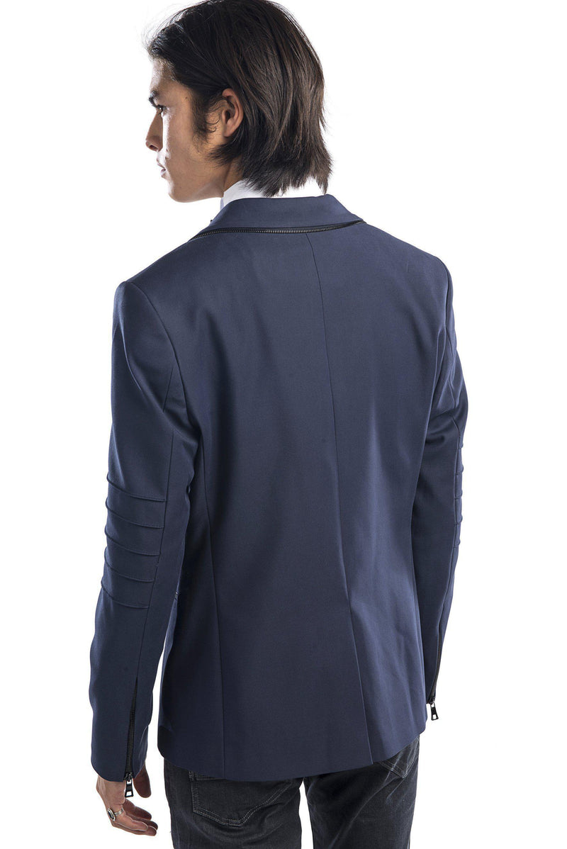 Zipper piping fitted Sports Coat - Navy - Ron Tomson