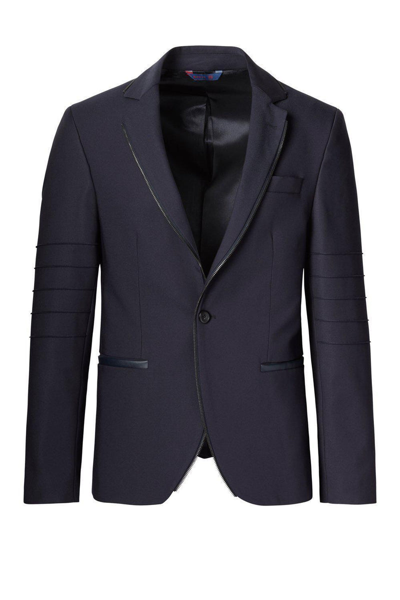 Zipper piping fitted Sports Coat - Navy