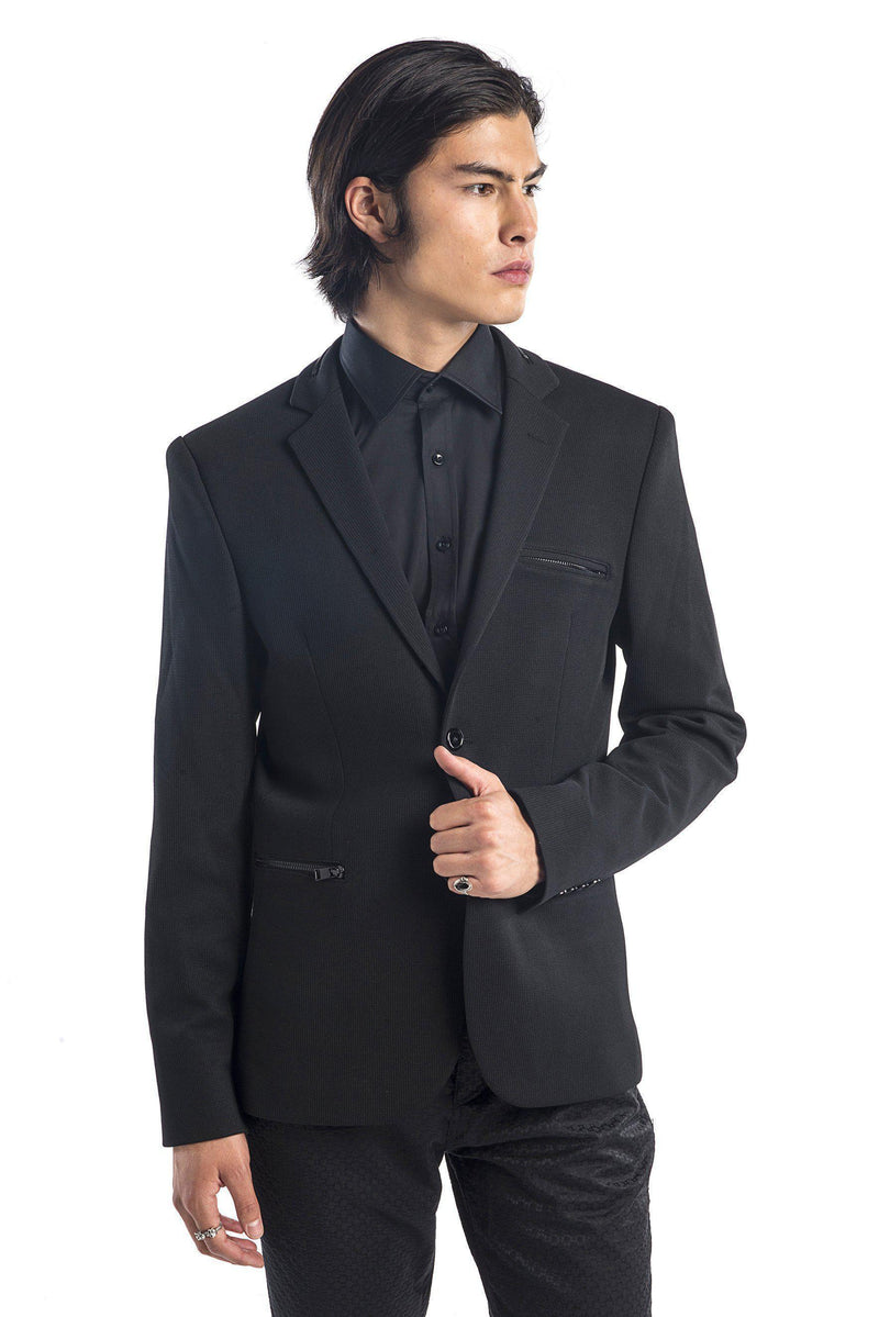 Zipper Pocket Blazer - More Colors-Blazers & Sport Coats-Ron Tomson-BLACK BLACK-M/38-Ron Tomson