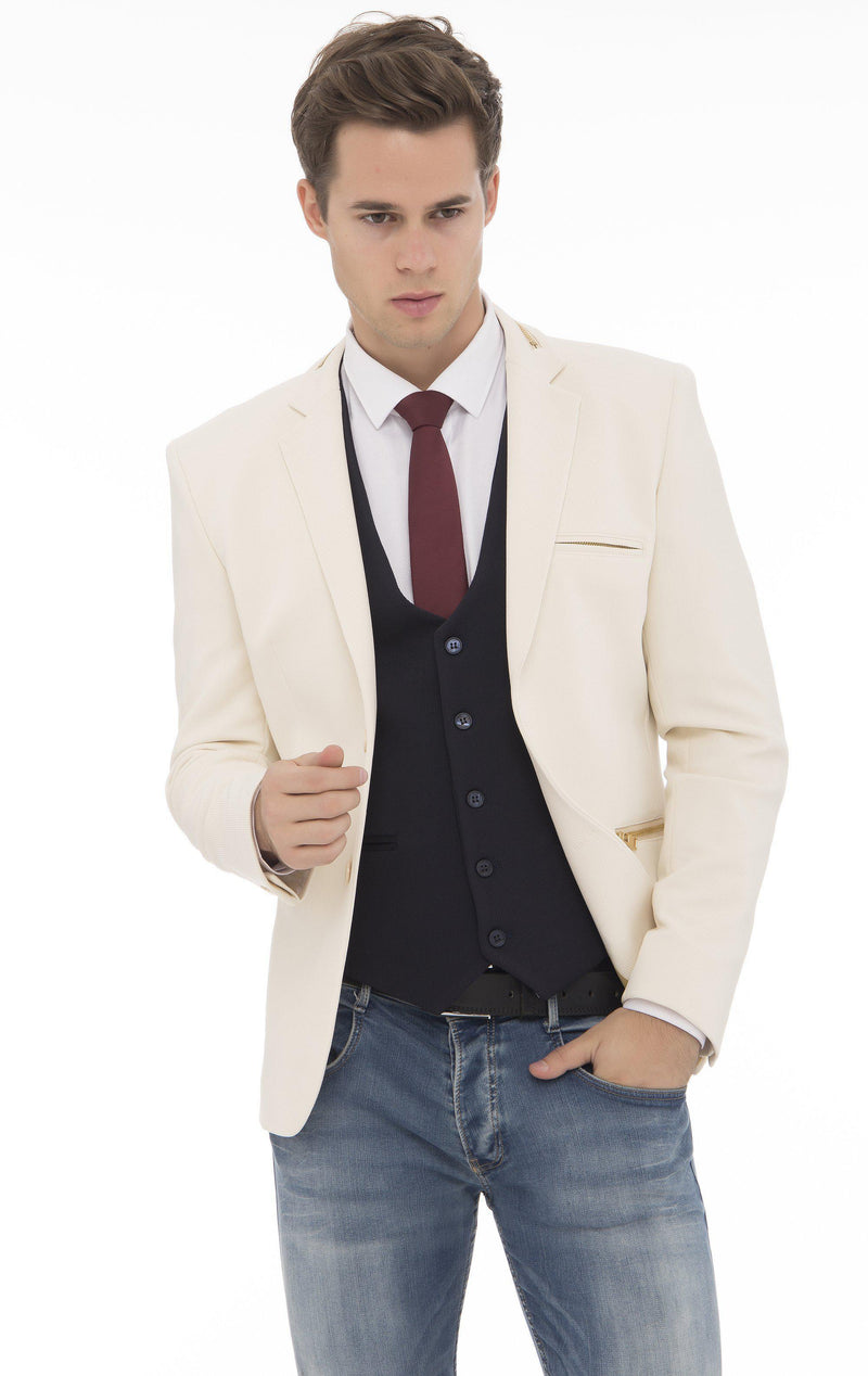 Zipper Pocket Blazer - More Colors-Blazers & Sport Coats-Ron Tomson-ECRU GOLD-M/38-Ron Tomson