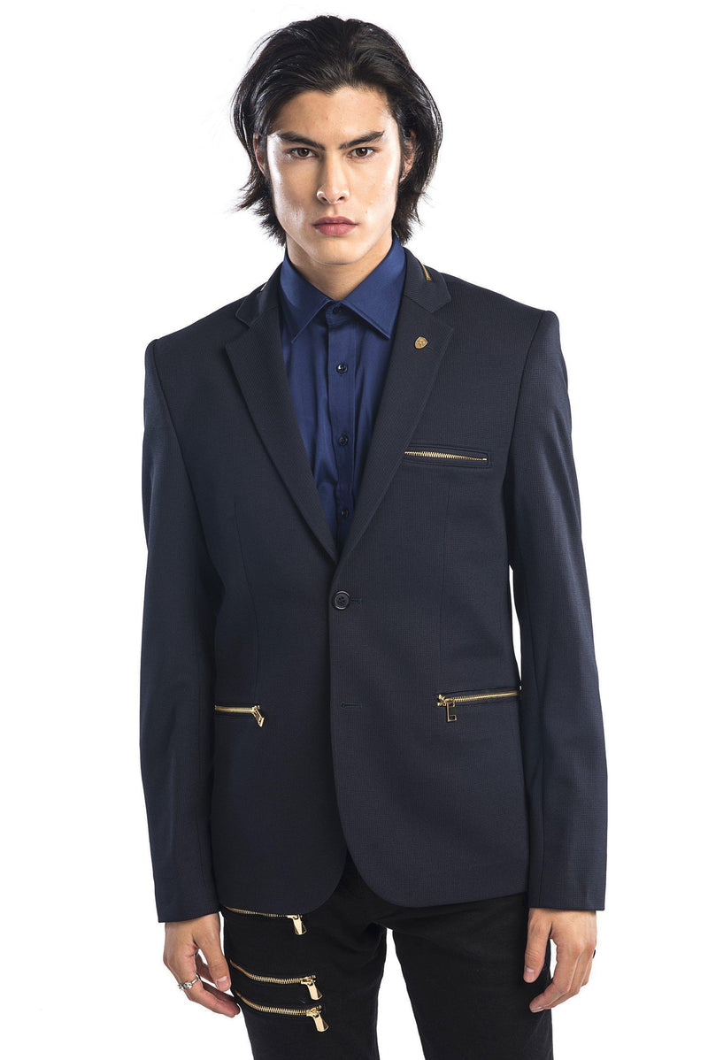 Zipper Pocket Blazer - More Colors-Blazers & Sport Coats-Ron Tomson-NAVY GOLD-M/38-Ron Tomson