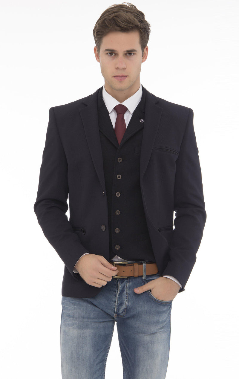 Zipper Pocket Blazer - More Colors-Blazers & Sport Coats-Ron Tomson-NAVY BLACK-M/38-Ron Tomson