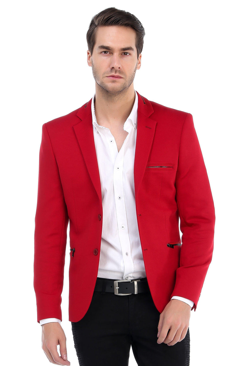 Zipper Pocket Blazer - More Colors-Blazers & Sport Coats-Ron Tomson-RED-M/38-Ron Tomson