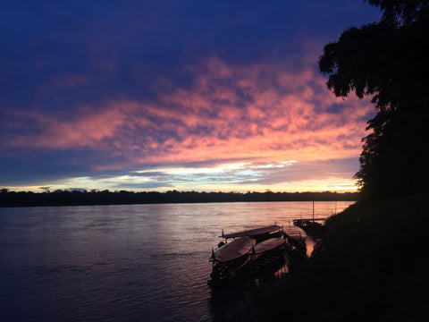 Amazon Rainforest River Sunset Boat Jungle Peru