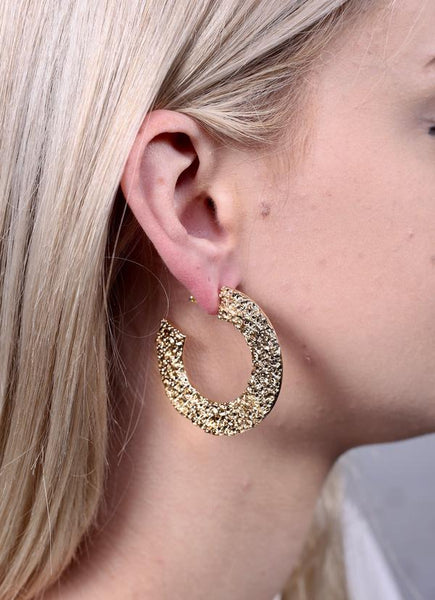 Jack Textured Metal Flat Hoops