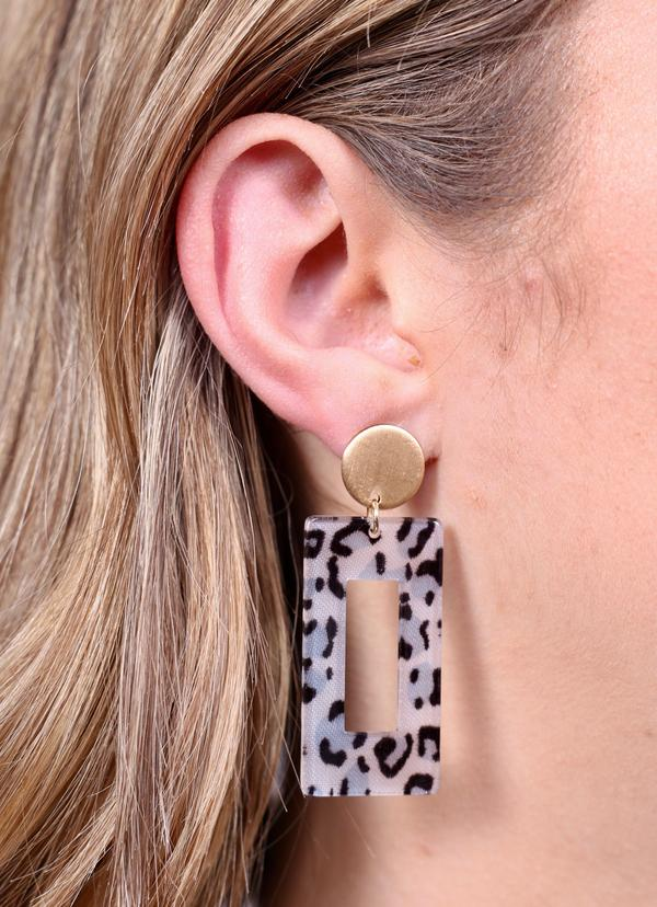 Bitsy Rectangle Leopard Earrings