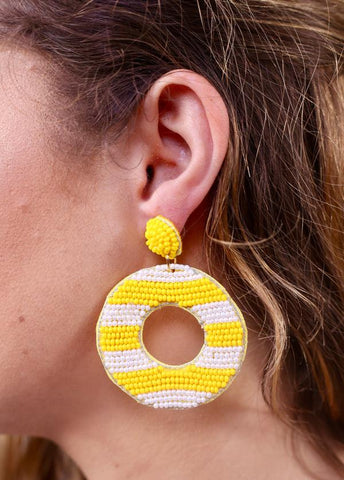Honolulu Yellow Seed Bead Stripe Earring